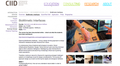 Teaching at CIID Summer Course 2013: Exploring Biomimetic Interfaces